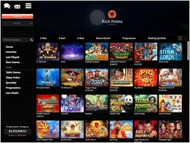Rich Palms online casino games