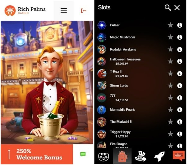 Rich Palms online mobile casino