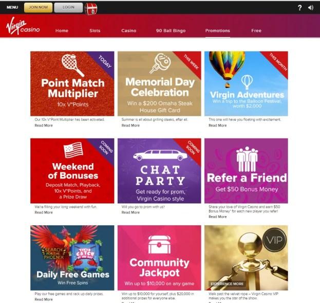 Virgin Casino- Bonus offers