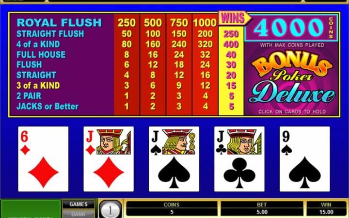 Bonus Poker Deluxe, Microgaming, Bonus Casino