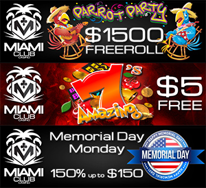 Miami Club, Get 150% Exclusive, Plus $5 Free and $1500 in Prizes