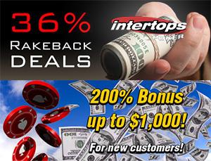 Intertops Poker Gives 36% Rakeback, $1,000 Deposit Bonus