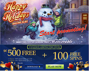 Euro Palace $/€500+ 100 Free Spins - Happy Holidays