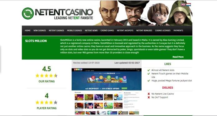 80 Free Spins on NetEnt Slots at Slots Million Casino