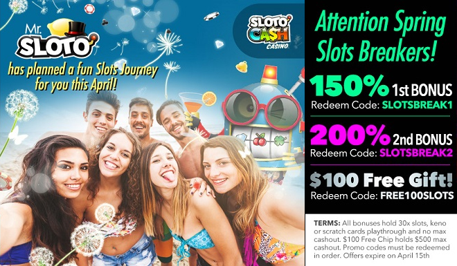 Enjoy a SPringBreak of Bonuses at Sloto'Cash and Uptown Aces