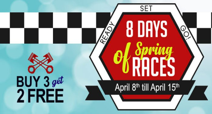 8 Days of Spring Races with Downtown Bingo, Buy 3 Get 2 Free Offer