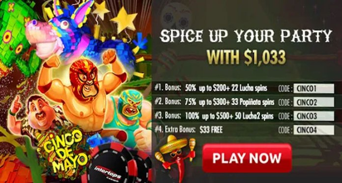 Get up to 100 Free Spins for Cinco de Mayo at Intertops