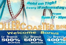 Fantastic Cash Prizes of up to $500 in Downtown's Rollercoaster Bingo