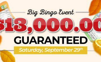 Downtown Bingos $13,000 Bingo Event, Saturday September 29th