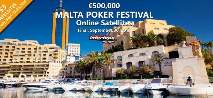 Malta Poker Festival Satellites at Intertops Poker, €500,000 GTD
