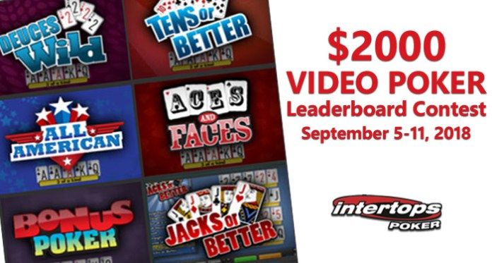 $2000 Lucktap Video Poker Leaderboard Contest at Intertops