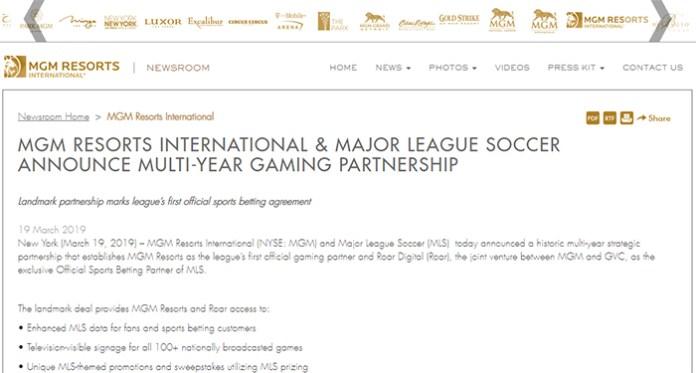 MGM Resorts International Multi-Year Major League Soccer Partnership