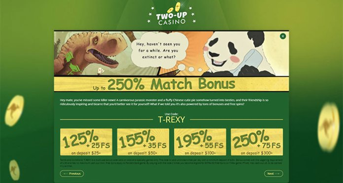 Get up to 250% Match Bonuses in May at Two Up Casino