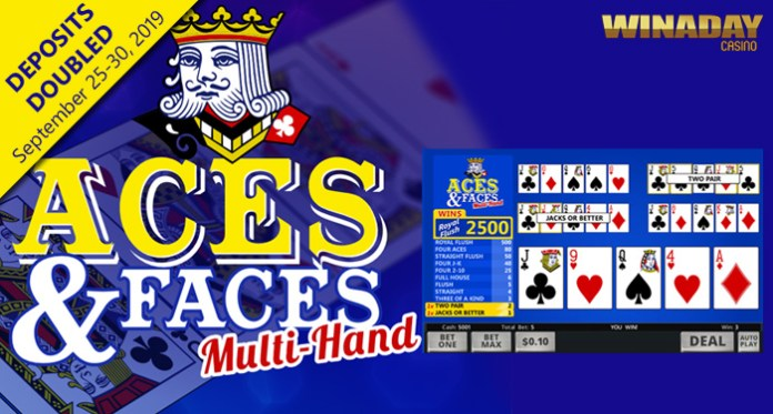 WinADay Introduces New Aces & Faces Multi-Hand Video Poker