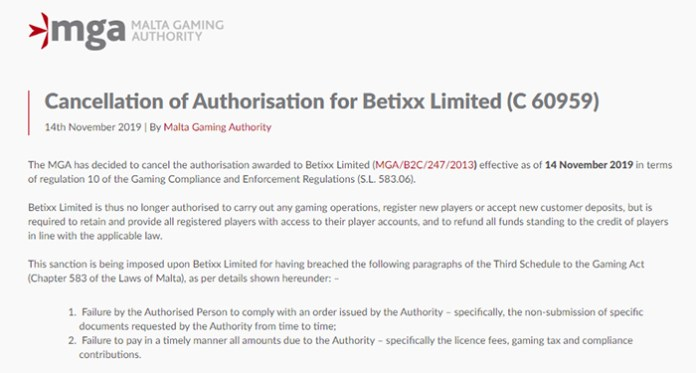 MGA Announces Cancellation of Authorisation for Betixx Limited