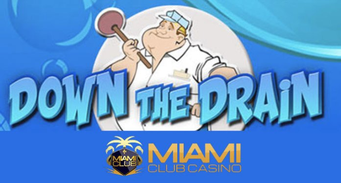 $200 plus 20 Free Spins on Miami Clubs Down the Drain Slot