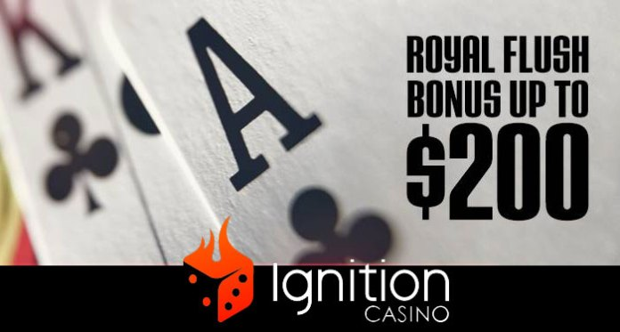 Pocket a Royal Flush Bonus at Ignition Casino, up to $200