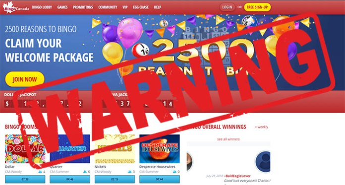 Bingo Canada Scam Warning