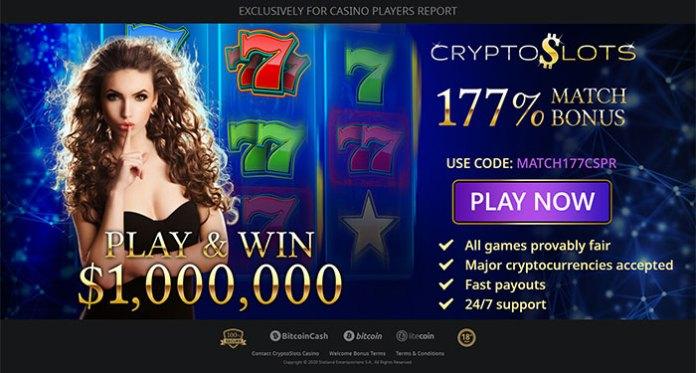 Get an Exclusive 177% Match Bonus at CryptoSlots Casino