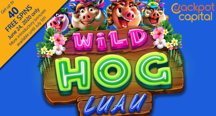 Jackpot Capital Giving up to 40 Free Spins on RTG's Exotic New Wild Hog Luau