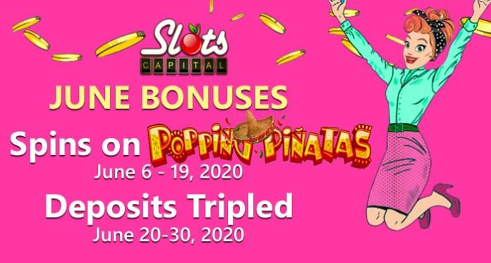 Get 100 Free Spins at Slots Capital Casino on Popping Pinatas