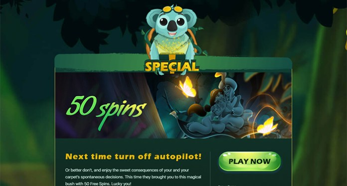 Fly a Magical Carpet Ride at Two Up Casino - 50 Free Spins Now