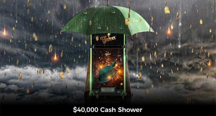 Win One of 200 Cash Prizes with Mr Green's $40,000 Cash Shower