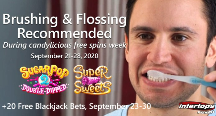 Intertops Poker Brush and Floss Weekly Free Spins Offer
