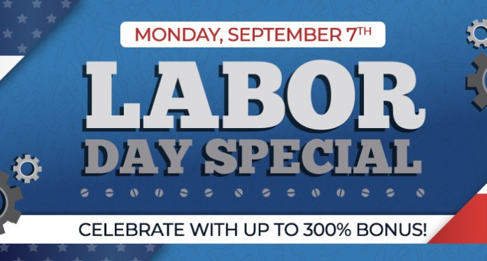 Celebrate Labor Day with up to a 300% Casino Bonus at Vegas Crest