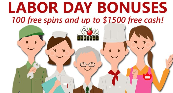 Labor Day Casino Bonuses at Slots Capital Casino Include 100 Free Spins