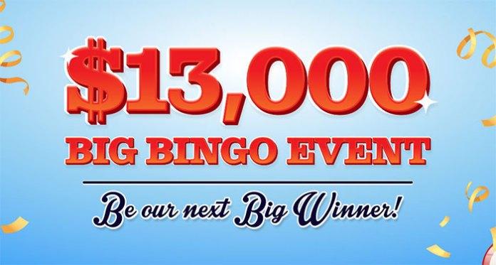 It's a Big Bingo $13,000 Event in Cash Prizes at Vegas Crest Casino