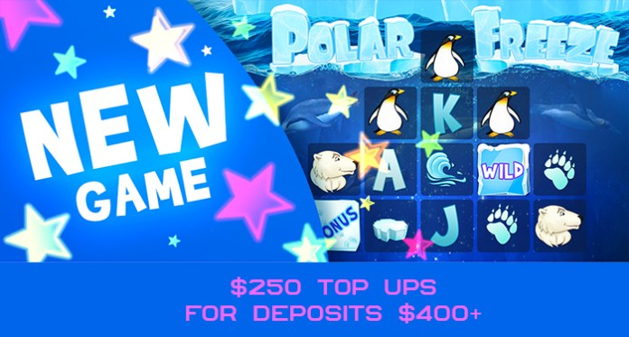 CrptoSlots Polar Freeze $250 Top Ups for Deposits $400+