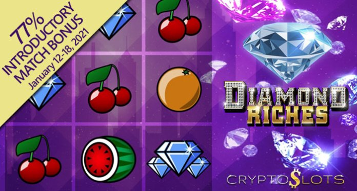Cryptoslots' New Diamond Riches 3-Reel Slot w/ Double Wilds and Free Spins