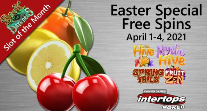 Intertops Poker Easter Special Bonuses, 80 Free Spins w/No Deposit Required