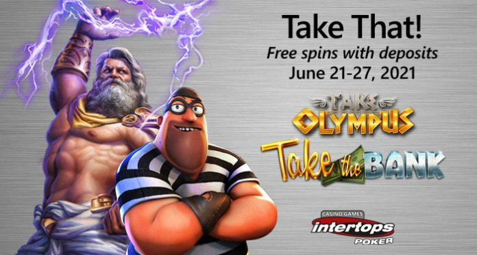 Intertops Poker Players Take Some Free Spins and a Take-Away $250