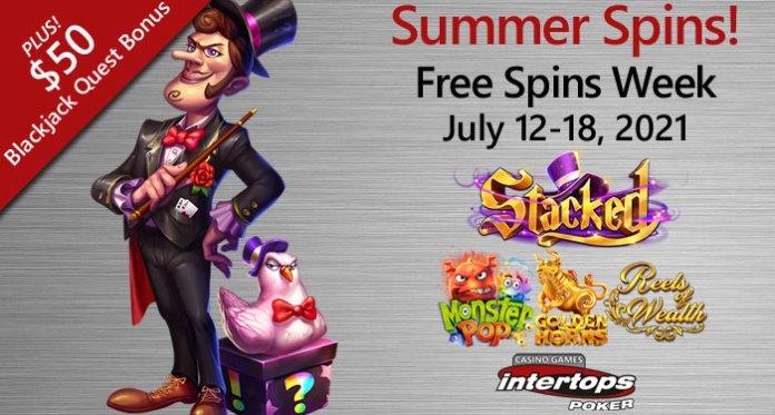 Intertops Poker up to 100 Free Spins and a $50 Blackjack Bonus