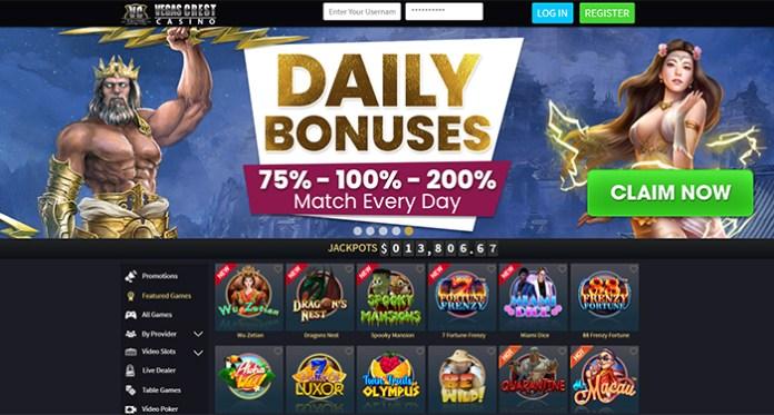 Receive a Casino Bonus with Every Deposit Made at Vegas Crest Casino