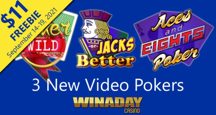 WinADay Casino Giving $11 Freebie to Try 3 New Video Poker Games