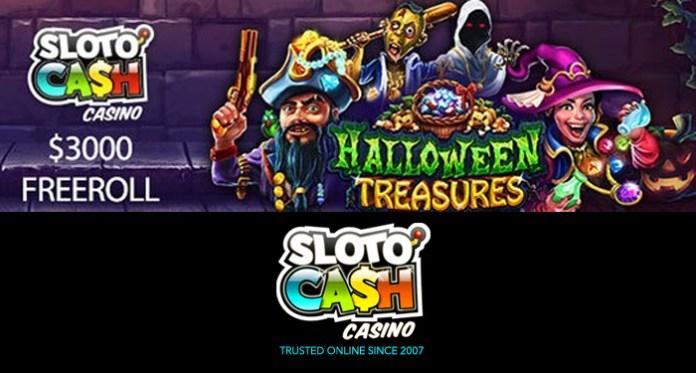 Bonus Harian + Freeroll Super Seluler Halloween Sloto'Cash