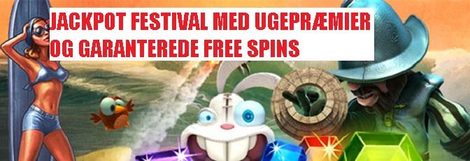 Jackpot Festival med ugentlige præmer og garanterede ekstra spins!