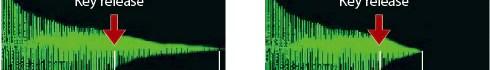 ฟังก์ชันจำลองการปล่อยคีย์ ที่ทำหน้าที่จำลองการเปลี่ยนแปลงของโทนเสียงอันเป็นผลมาจากการปล่อยนิ้ว