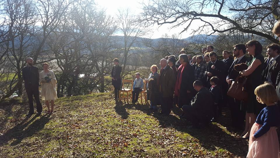 Ceremony on the hill above Comrie Croft