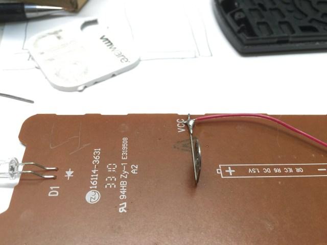 Soldered onto TV remote battery posts