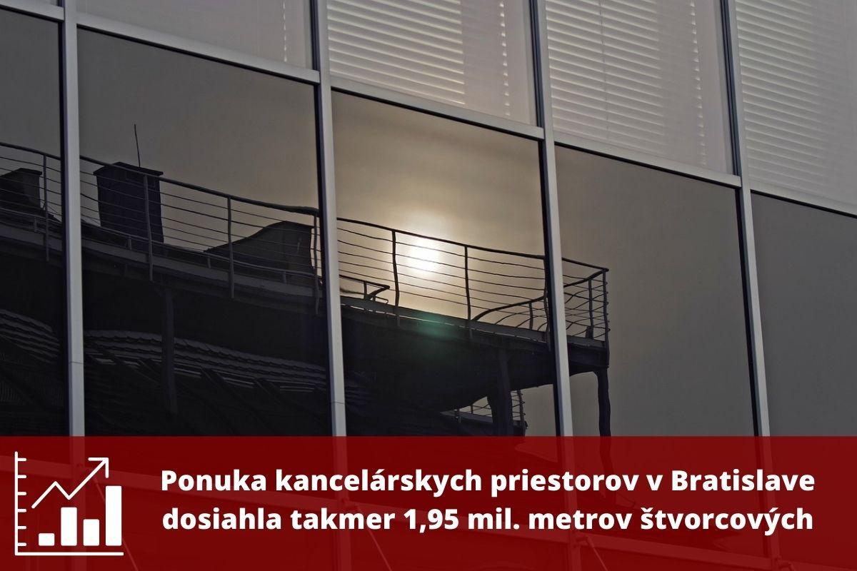 Ponuka kancelárskych priestorov v Bratislave dosiahla takmer 1,95 mil. metrov štvorcových