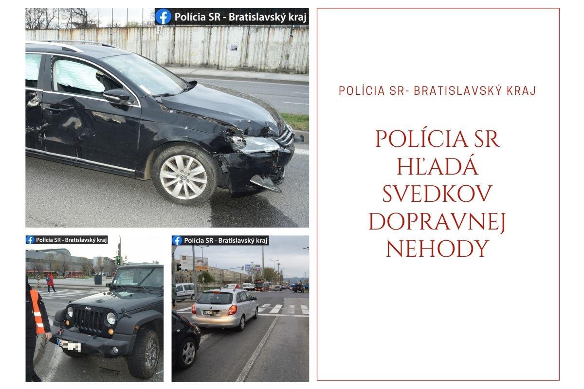 Polícia SR hľadá svedkov dopravnej nehody zo 16. apríla 2021 na ul. Galvaniho – Ivanská cesta