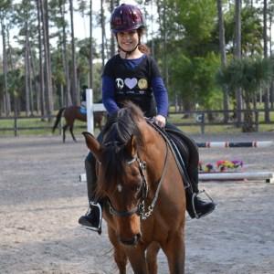 having fun during riding lesson