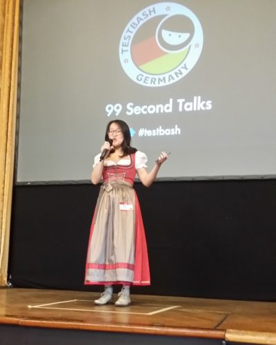 Cassandra Doing a 99 Second Talk at TestBash Germany 2017
