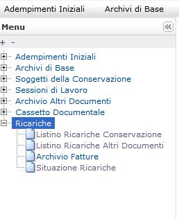 Cassetto Documentale menu