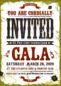 Western style poster to invite people to attend the 2020 Gala
