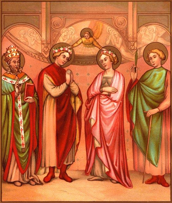 Couronnement de sainte Cécile et de saint Valérien par un Ange. Le Pape saint Urbain et saint Tiburce accompagnent les époux.